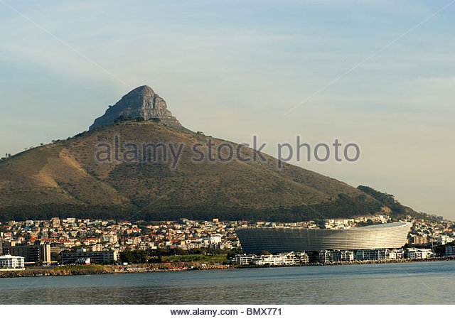 Cape Town South Africa View from the sea with Green Point Stadium and Lions head. - Stock Image