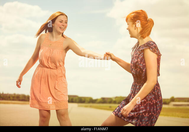 Two young women having fun together - Stock Image