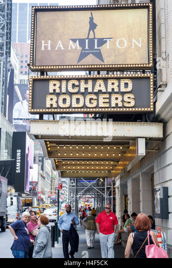 Manhattan New York City NYC NY Midtown Broadway theater district Hamilton Richard Rodgers Theatre musical marquee - Stock Image