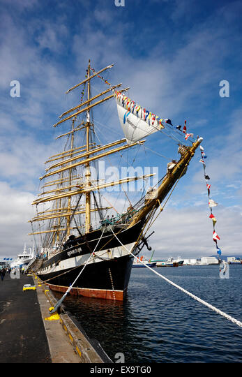 russian tall sailing ship krusenstern reykjavik iceland - Stock Image