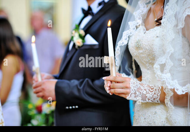 hands of newlyweds - Stock Image
