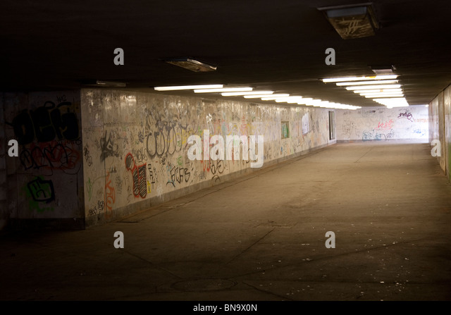 Graffiti in an underpass in Dresden, Germany. - Stock Image