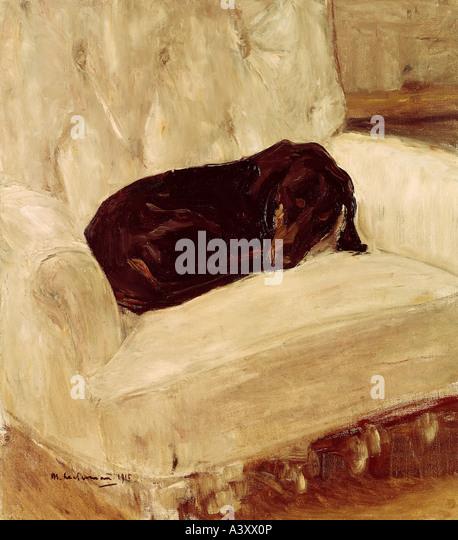 'fine arts, Liebermann, Max, (1847 - 1935), painting, 'Schlafender Dackel', ('sleeping dachshund'), - Stock Image