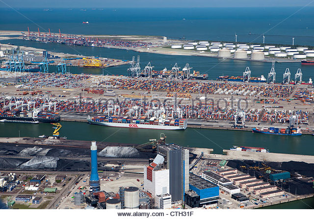 The Netherlands, Rotterdam, Port. Container, ore and oil storage. Aerial. - Stock Image