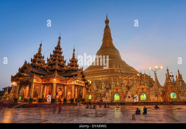 Myanmar Burma Asia Shwedagon Yangon Rangoon architecture Buddha Buddhism clean colourful pagoda golden religion - Stock-Bilder