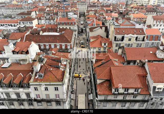 Baixa, old town, view from the Elevador de Santa Justa or Elevador do Carmo, Lisbon, Lisboa, Portugal, Europe - Stock Image