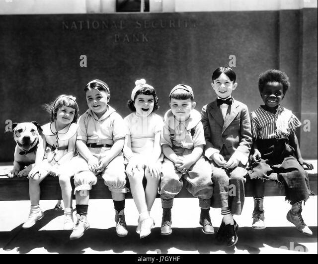 Our Gang (from left: Pete the pup, Darla Hood (1931-1979), US child actress, George McFarland (1928-1993), US child - Stock-Bilder