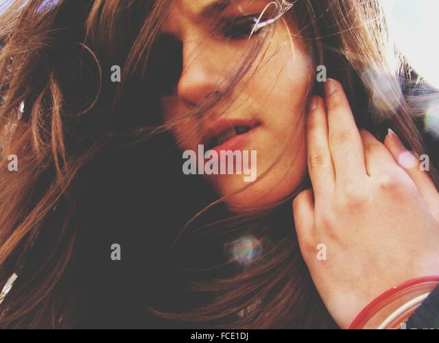 Close Up Of Teenage Girl - Stock Image