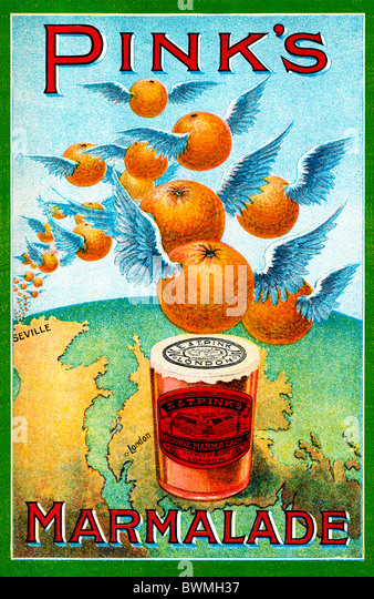Pinks Marmalade, 1890 advert for the largest makers in the world shows oranges flying over from Seville to London - Stock Image