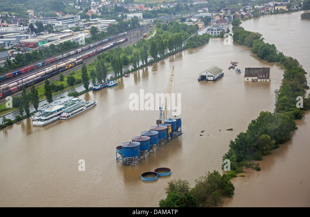Danube harbour flooded in June 2013, Germany, Bavaria, Passau - Stock Image
