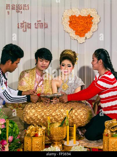 Traditional wedding, cash gifts for the newlyweds, Senmonorom, Sen Monorom, Mondul Kiri, Province Mondulkiri, Cambodia - Stock Image