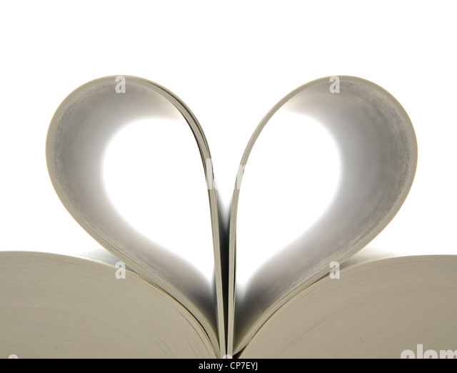 Book with opened pages and shape of heart - Stock Image