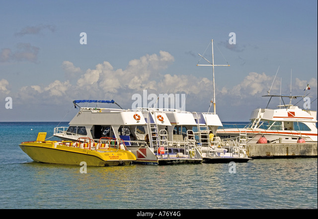 Cozumel Mexico San Miguel town dive and tour boats - Stock Image