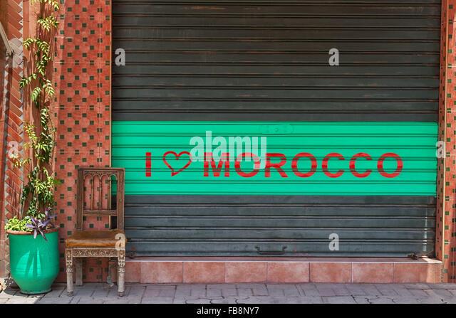 Street scene in the medina of Marrakech, Morocco. - Stock Image