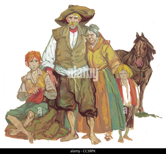 Germany, The Seventeenth Century. Peasant Family. Coffee Painting - Stock Image