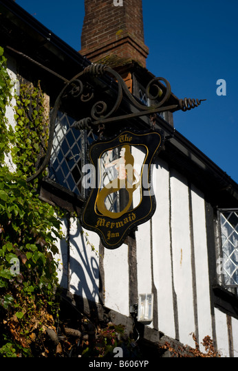 The Mermaid Inn Sign Mermaid Street in The Historic Cinque Ports Town of Rye East Sussex - Stock Image