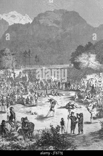 A Schwingerfest at Interlaken, Switzerland, Schwingen also known as Swiss wrestling and Hoselupf, breeches-lifting, - Stock Image
