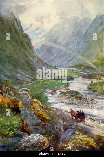 Naerodal:  a rocky landscape        Date: 1909 - Stock Image