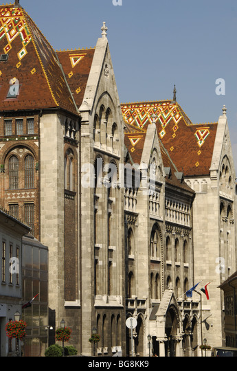 National Archives of Hungary. Outside view. Buddha. Budapest. Hungary. - Stock Image