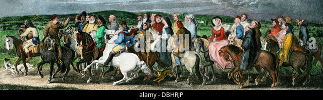 Pilgrims from a scene in Chaucer's Canterbury Tales. - Stock Image
