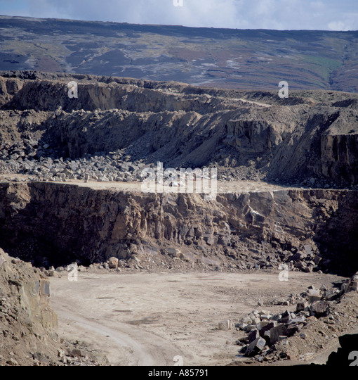 Quarry area cleared prior to blasting; Buckton Vale sandstone quarry, Stalybridge, Greater Manchester, England, - Stock Image