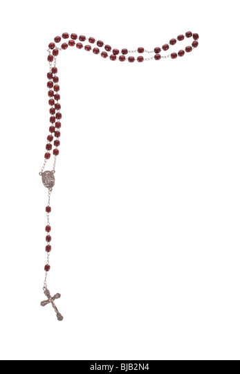 Rosary beads isolated over a white background - Stock Image