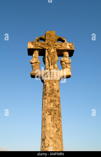 Ancient stone cross / calvary in Le Louroux cemetary, Indre et Loire, France. - Stock Image