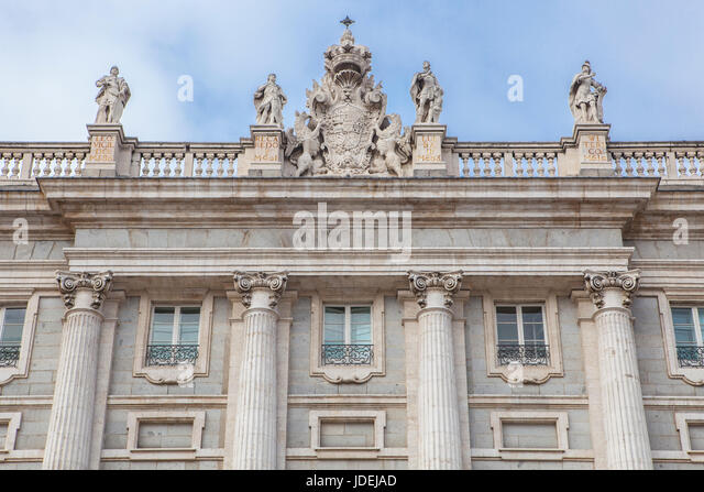 Madrid, Spain - february 26, 2017: Facade of Royal Palace in, Madrid, Spain. North east facade - Stock Image