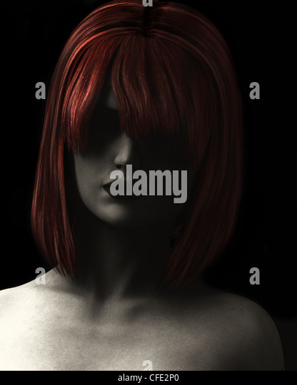 Fine Art style digital illustration textured and grainy of beautiful woman in deep shadow with red hair. - Stock Image