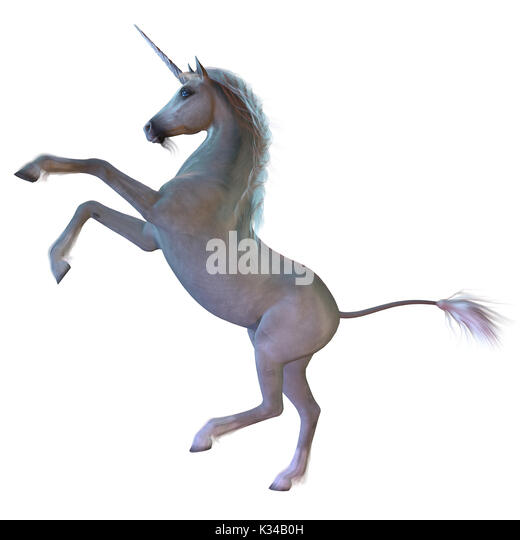 A Unicorn is a white magical horse with cloven hoofs, a forehead horn and a beard and is a creature of mythology. - Stock Image