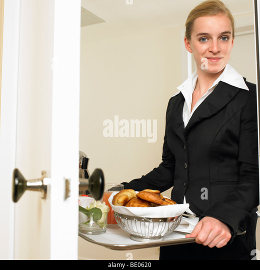 Room service with breakfast - Stock Image