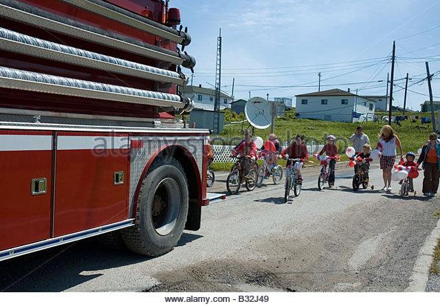 Children s Canada Day Parade Daniel s Harbour Newfoundland - Stock Image