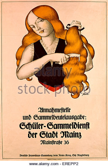 World War I poster - German. Encouraging female school students to donate hair to the Red Cross. Caption reads: - Stock Image