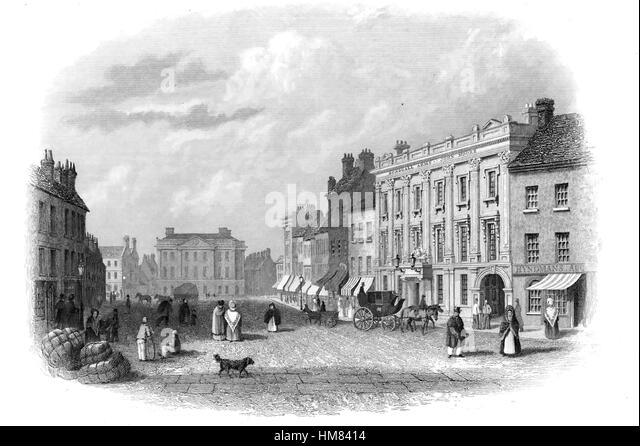 CASTLE PLACE, Belfast, Ireland, in 1843 - Stock-Bilder