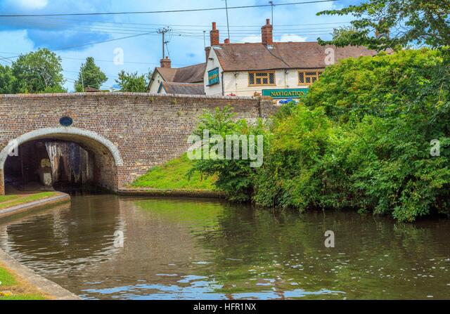 Canal & River Trust volunteers travelling by canal boat to work on the Staffordshire & Worcestershire Canal, - Stock Image