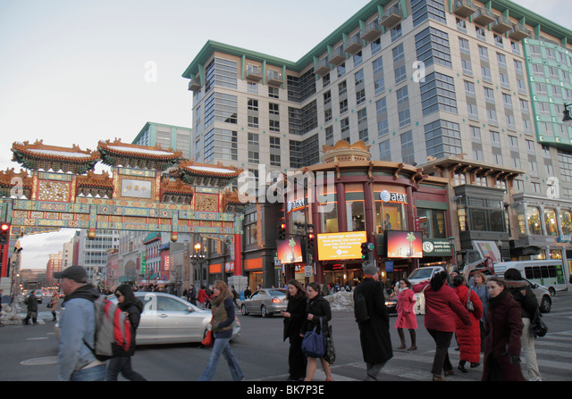 Washington DC Chinatown H Street & 7th Street NW historic neighborhood street traffic pedestrian intersection - Stock Image