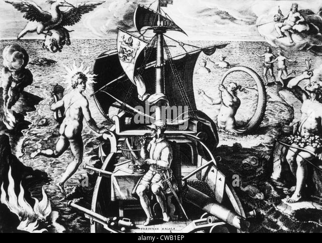 Ferdinand Magellan on his ship - Stock Image