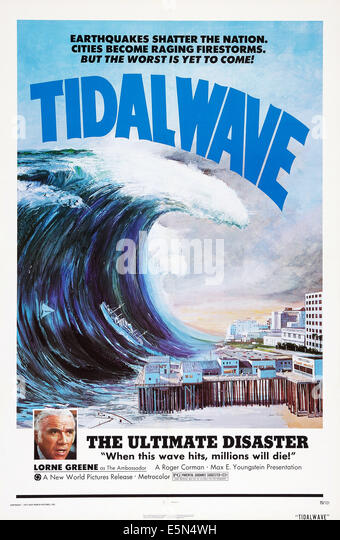 TIDAL WAVE, (aka NIPPON CHINBOTSU), bottom left: Lorne Greene on poster art, 1973. - Stock Image