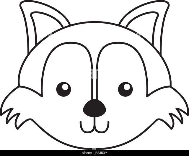 Fox Face Line Drawing : Cartoon fox face stock photos