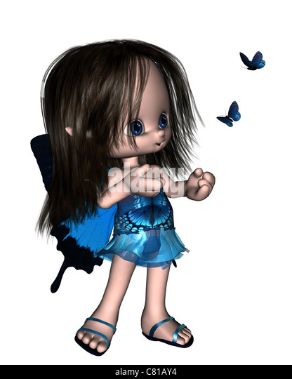 Toon Butterfly Fairy - Blue - Stock Image