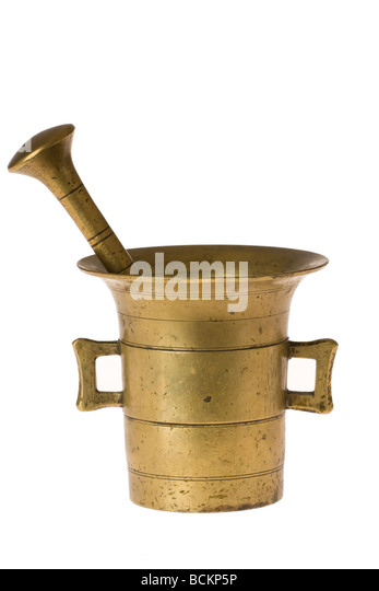 old mortar and pestle on white background - Stock Image