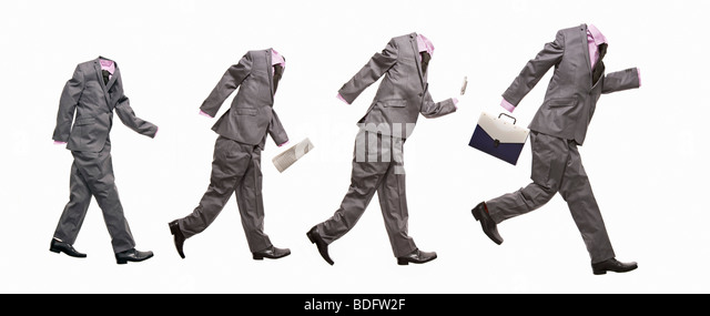 A conceptual image with 4 suits - Stock-Bilder
