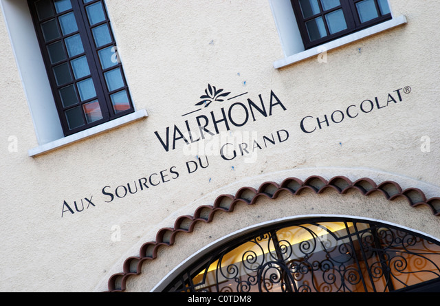 chocolate manufacturer and shop valrhona tain l hermitage rhone france - Stock Image