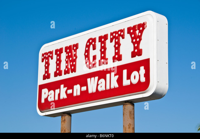 Tin City sign Naples Florida Waterfront Marketplace city landmark tourist attraction shops shopping fl souvenirs - Stock Image