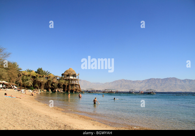 Israel, the Dolphin Reef beach in Eilat - Stock Image