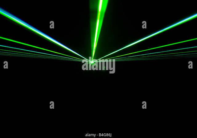 Green laser lights - Stock Image