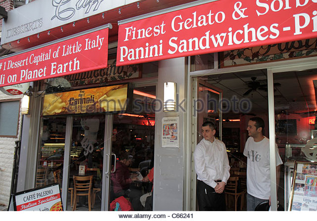 Lower Manhattan New York City NYC NY Little Italy Mulberry Street ethnic neighborhood Caffe Palermo Italian restaurant - Stock Image