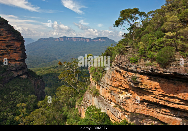Australia New South Wales. A view of the Jamison Valley in the Blue Mountains from Prince Henry Cliff Walk. - Stock Image