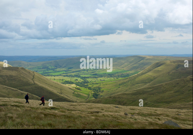 The Edale valley from Kinder Scout, Peak National Park, Derbyshire, England UK - Stock Image