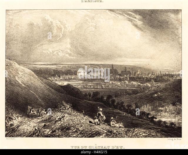Paul Huet, French (1803-1869), View of the Chateau d'Eu (Vue du Chateau d'Eu), 1834, lithograph - Stock-Bilder